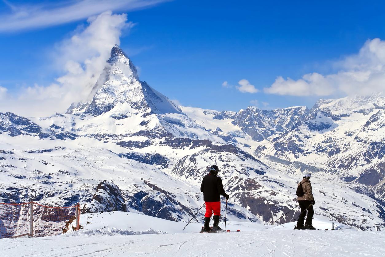 Zermatt / Cervinia, hranice Švýcarska a Itálie